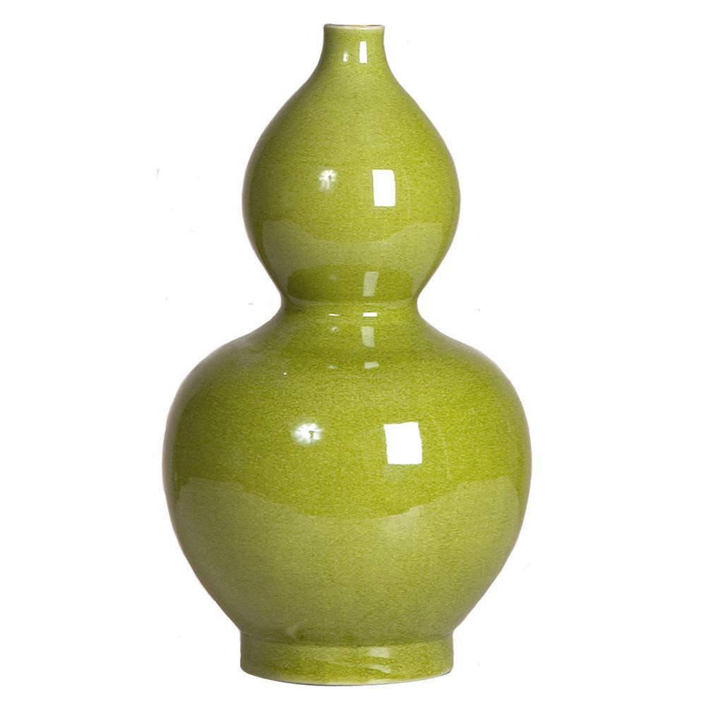 14 in. Double Gourd Chartreuse Crackle Porcelain Vase