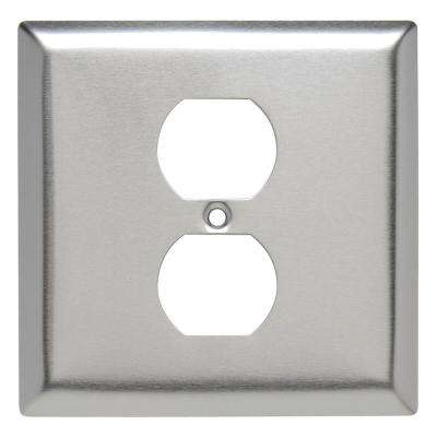 302 Series 2-Gang Single Opening Duplex Wall Plate in Stainless Steel