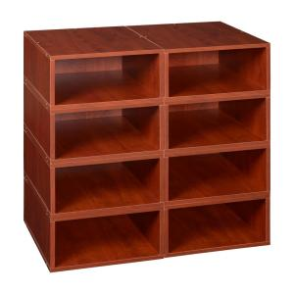 52 in. H x 26 in. W x 13 in. D Cherry Wood 8-Cube Storage Organizer