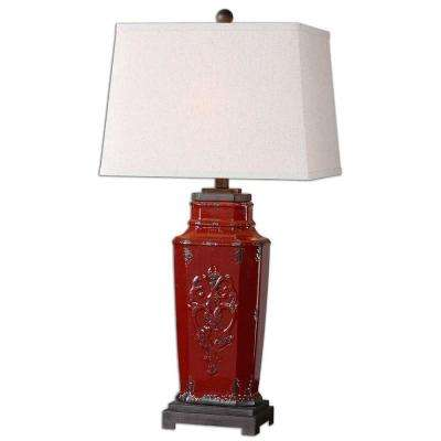 31 in. Multi-Colored Deep Red Table Lamp