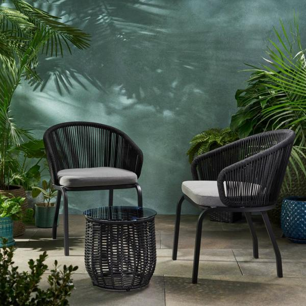 Noble House Boynton Black 3-Piece Metal Patio Conversation