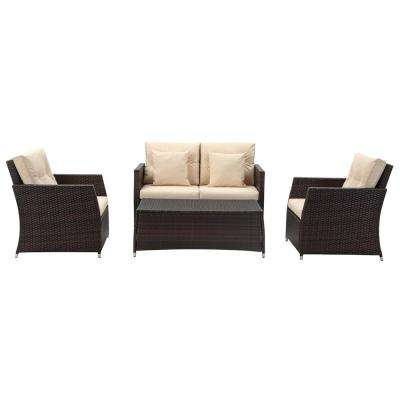 Parry Brown 4-Piece Wicker Patio Conversation Set with Beige Cushions