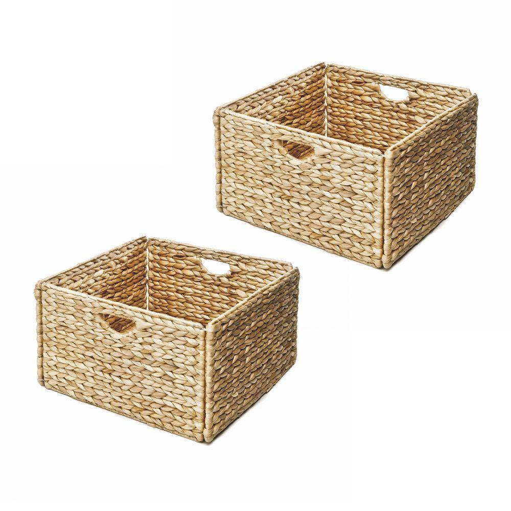 Woven Hyacinth Storage Basket (2-  sc 1 st  The Home Depot & Seville Classics 13 in. x 8 in. Woven Hyacinth Storage Basket (2 ...