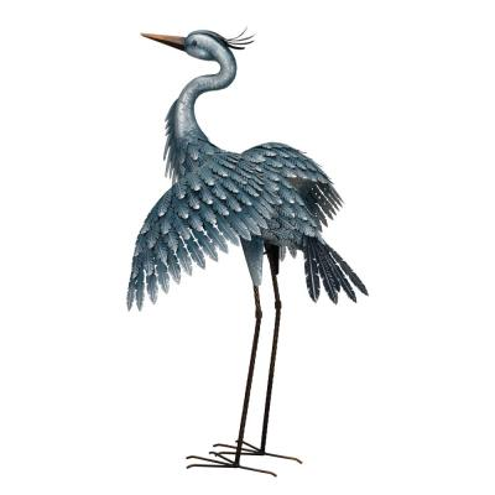 Large Metallic Blue Wings Out Heron Garden Statue