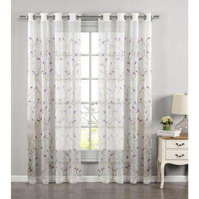 Sheer Wavy Leaves Embroidered Sheer Lilac Grommet Extra Wide Curtain Panel, 54 in. W x 84 in. L
