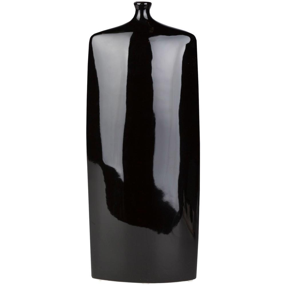Dynrim 11.4 in. Black Ceramic Decorative Vase