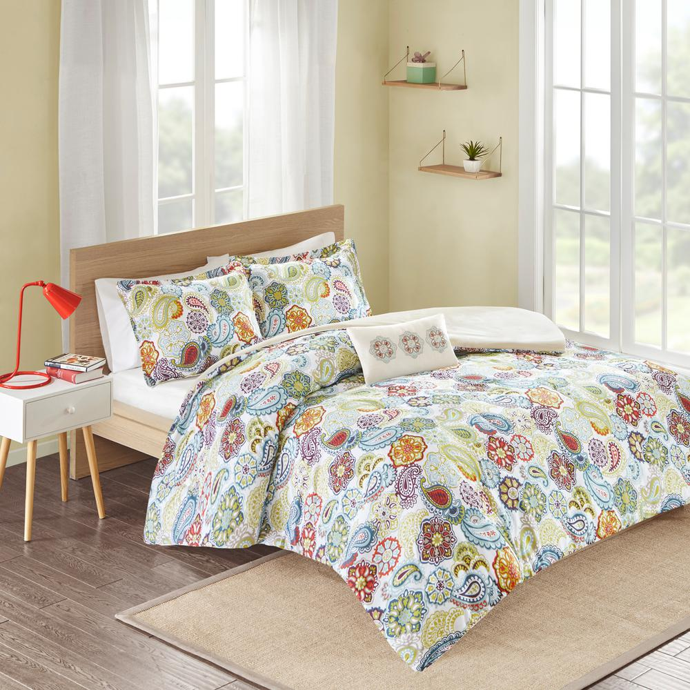 Mi Zone Asha 4 Piece Multi Colored King California King Print Duvet