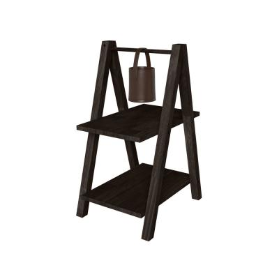 Freemont 14.55 in. Dark Espresso A-Frame Solid Wood End Table with 2-Shelves