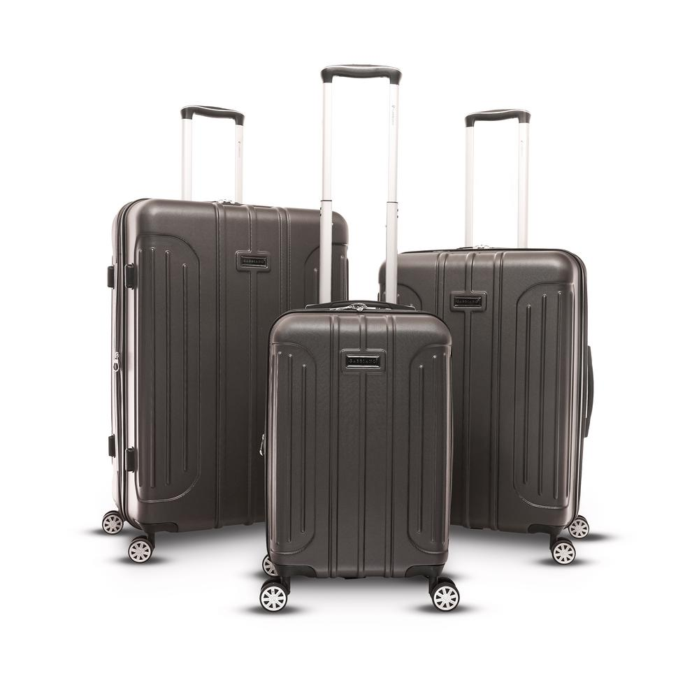Viva 3-Piece Hard Side Upright Spinner Set in Dark Gray
