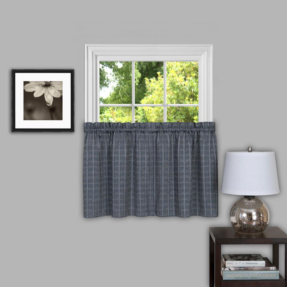 Sheer Sydneyx 14 in. L Polyester Window Curtain Tier Pair in Grey