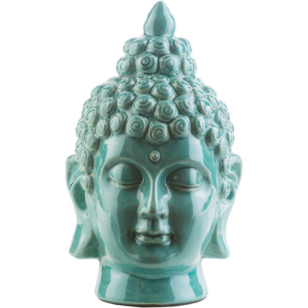 Hansh 7.9 in. x 12.6 in. Decorative Buddha Bust in Teal