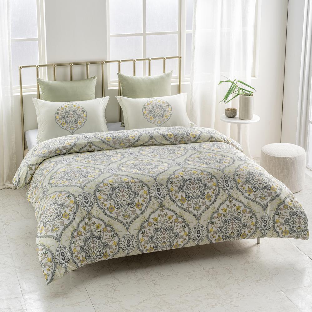 7217866adb3f6 Gracia Wrinkle Resistant Reversible Print 100% Organic Cotton Yellow Green  King Duvet Cover Set
