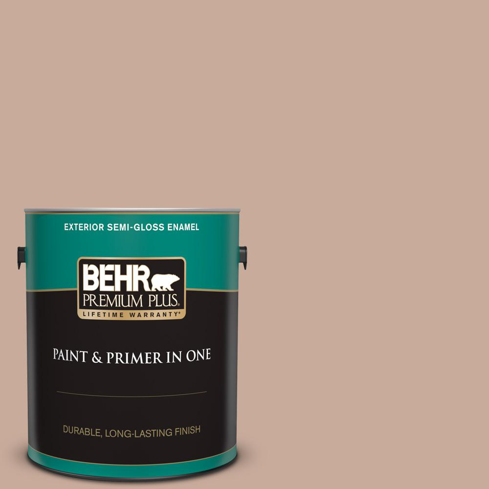Behr Premium Plus 1 Gal Icc 97 Powdered Allspice Semi Gloss Enamel Exterior Paint And Primer In One 540001 The Home Depot