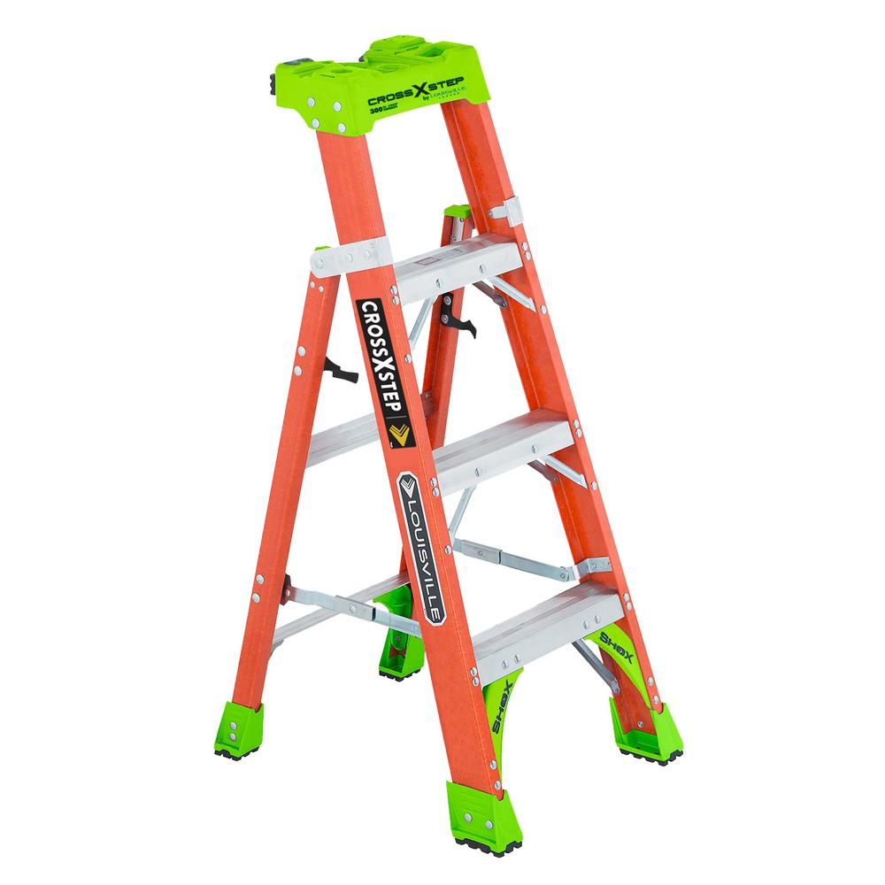 Louisville Ladder 4 ft. Fiberglass Cross Step Ladder, 300 lbs. Load Capacity Type IA Duty Rating