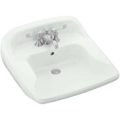 Worthington Wall-Mounted Vitreous China Bathroom Sink in White with Overflow Drain