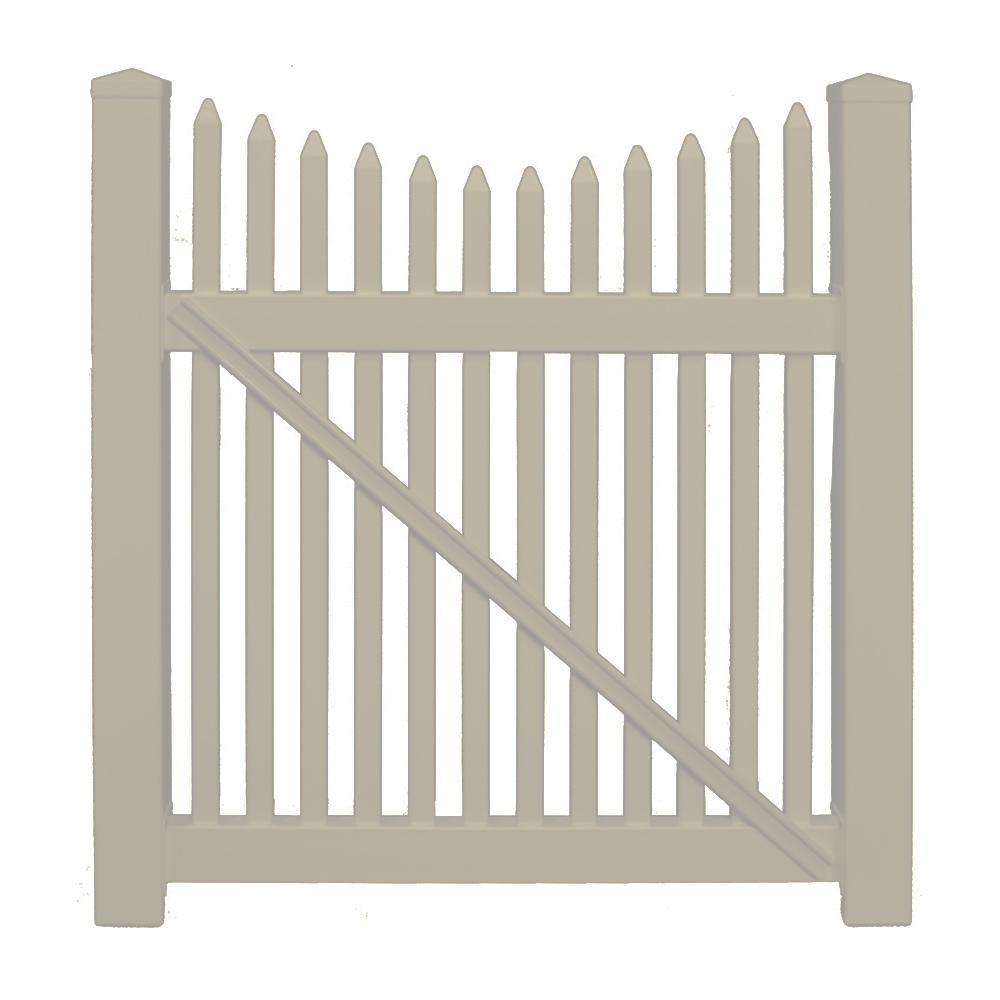 Barrington 8 ft. W x 5 ft. H Khaki Vinyl Picket Fence Double Gate