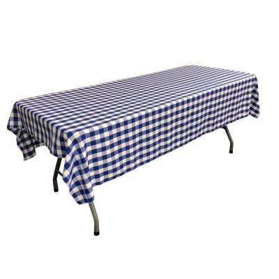 60 in. x 108 in. White and Royal Blue Polyester Gingham Checkered Rectangular Tablecloth