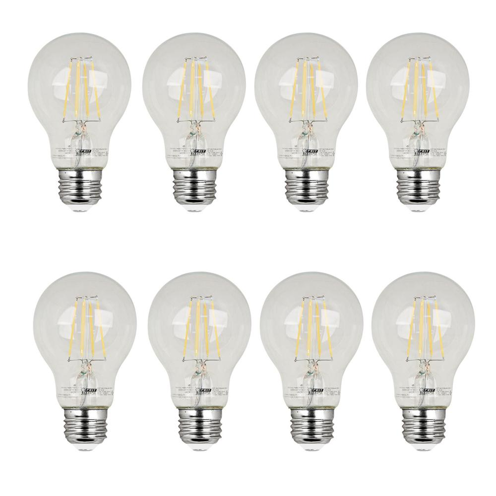 Feit Electric 60w Equivalent Soft White 2700k A19 Filament Led Clear Glass Light Bulb Case Of 8
