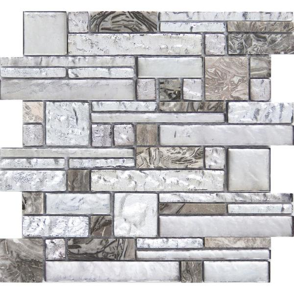 Vista Backdrop Glossy 11.81 in. x 11.81 in. x 8mm Glass Mesh-Mounted Mosaic Tile (0.97 sq. ft.)