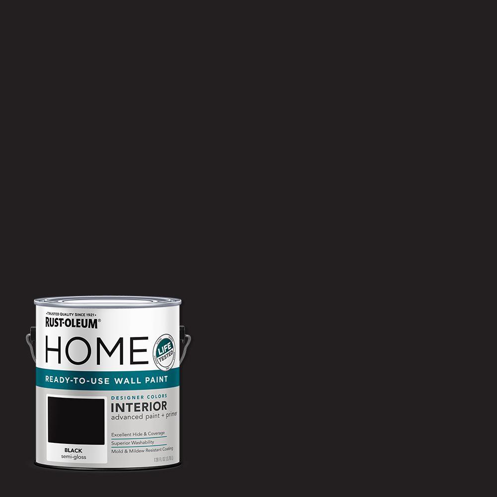 1 Gal. Semi-Gloss Black Interior Wall Paint (2-Pack)