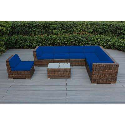Mixed Brown 8-Piece Wicker Patio Seating Set with Sunbrella Pacific Blue Cushions