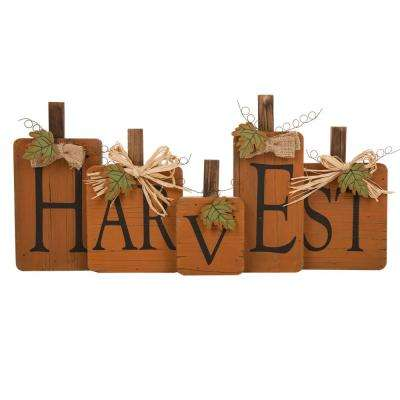 22.44 in. L Solid Wood Harvest Pumpkins Sign