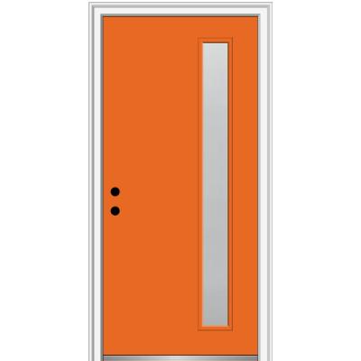 36 in. x 80 in. Viola Right-Hand Inswing 1-Lite Frosted Glass Painted Steel Prehung Front Door on 4-9/16 in. Frame