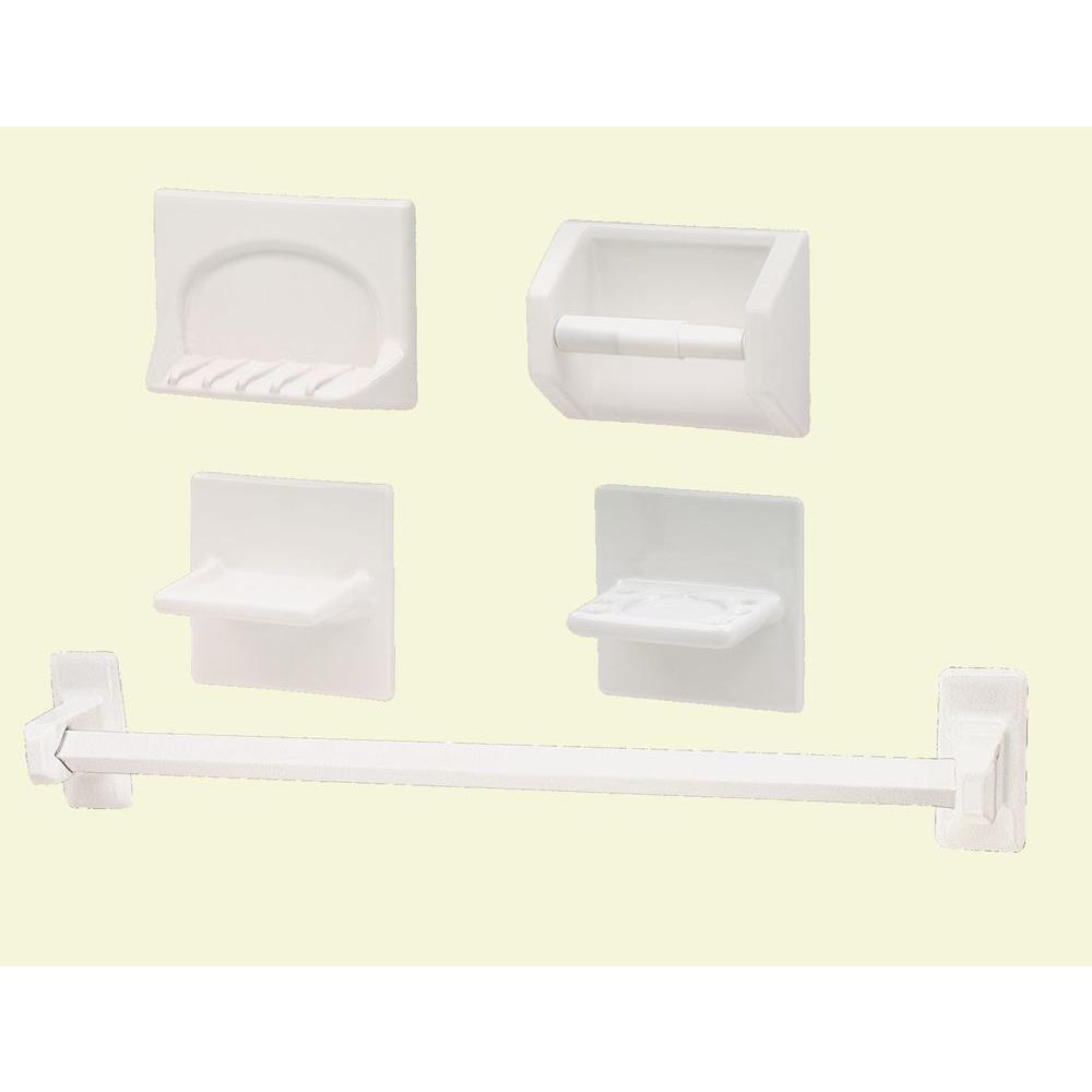 756644ca2884b Lenape White Ceramic Bath Accessory 5-Piece Set