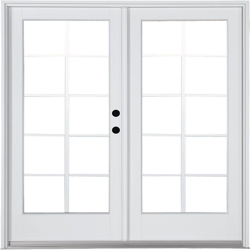 MP Doors 72 in. x 80 in. Fiberglass Smooth White Left-Hand Inswing Hinged Patio Door 10-Lite GBG