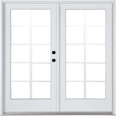 72 in. x 80 in. Fiberglass Smooth White Left-Hand Inswing Hinged Patio Door 10-Lite GBG