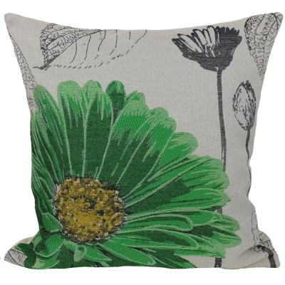 18 in. x 18 in. Green Flower Embroidery Collection with Feather Filled Pillow