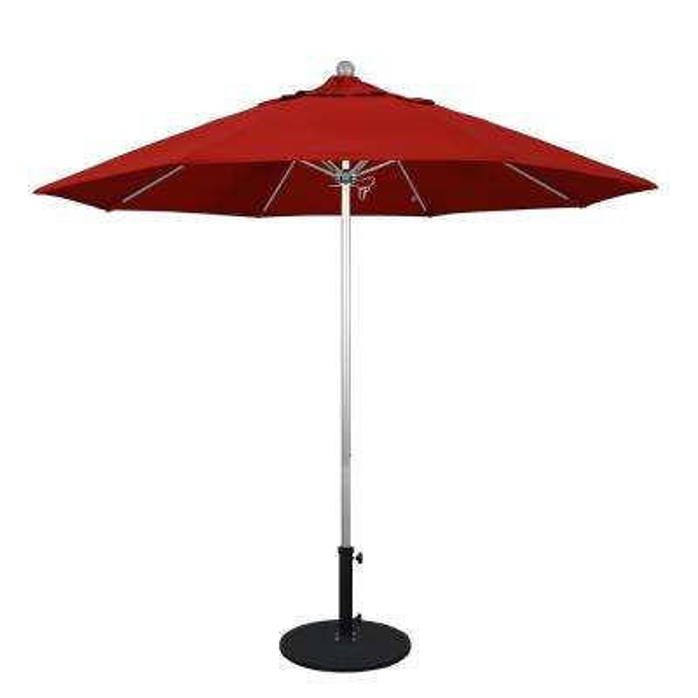 9 ft. Silver Anodized Aluminum Market Fiberglass Ribs Push Lift Patio Umbrella in Jockey Red Sunbrella
