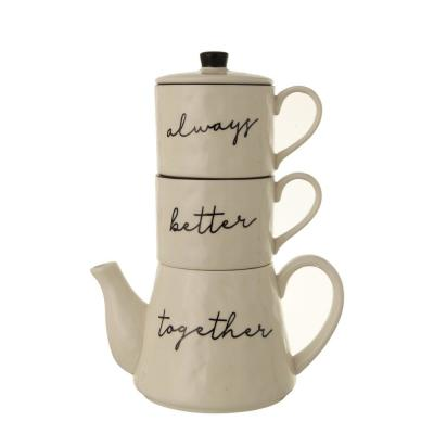 18 oz. White Stackable Teapot and Mugs