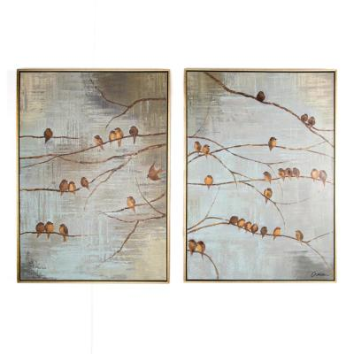 """28 in. x 39 in.""""Flock Of Birds"""" Printed Framed Canvas Wall Art"""