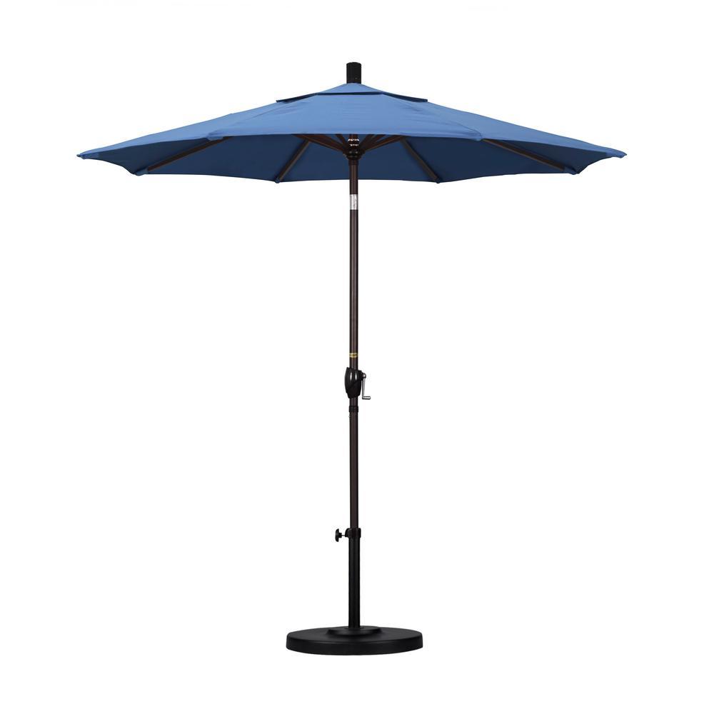 7-1/2 ft. Fiberglass Push Tilt Patio Umbrella in Frost Blue Olefin
