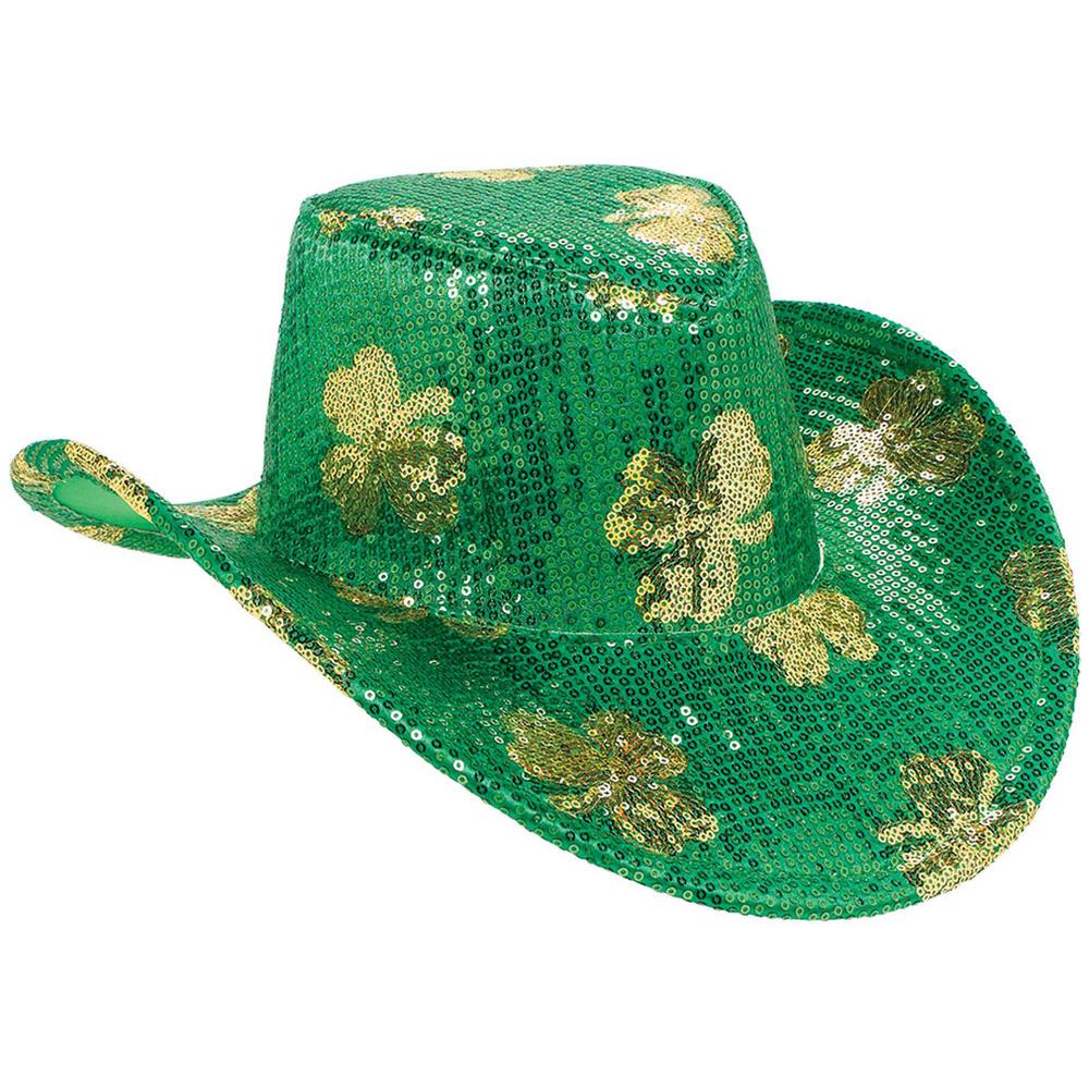 ee0507ee311 Amscan Green and Gold Gold Shamrock St. Patrick s Day Cowboy Hat ...