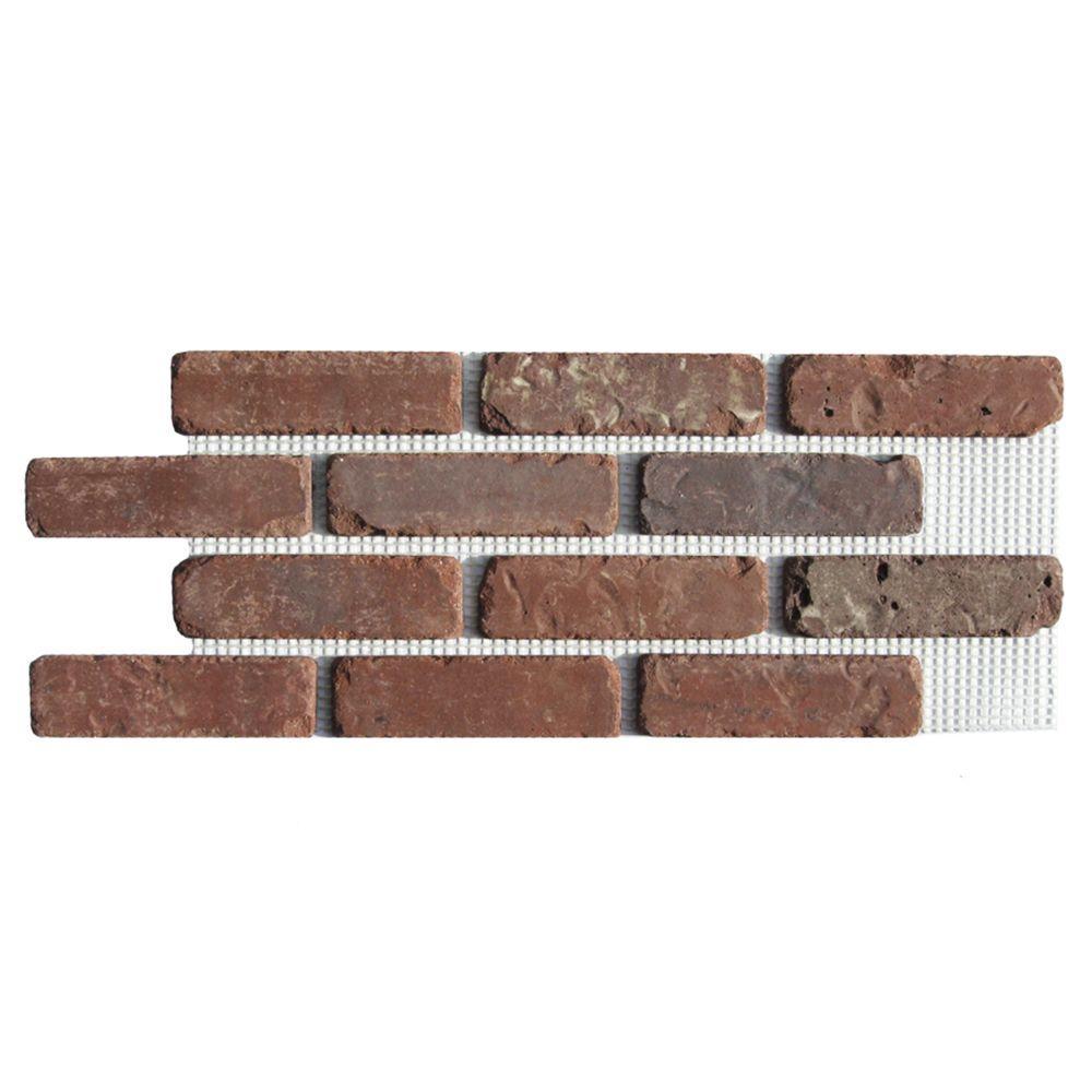 Brickweb Boston Mill 8.7 sq. ft. 28 in. x 10-1/2 in. x ½ in. Clay Thin Brick Flats (Box of 5)