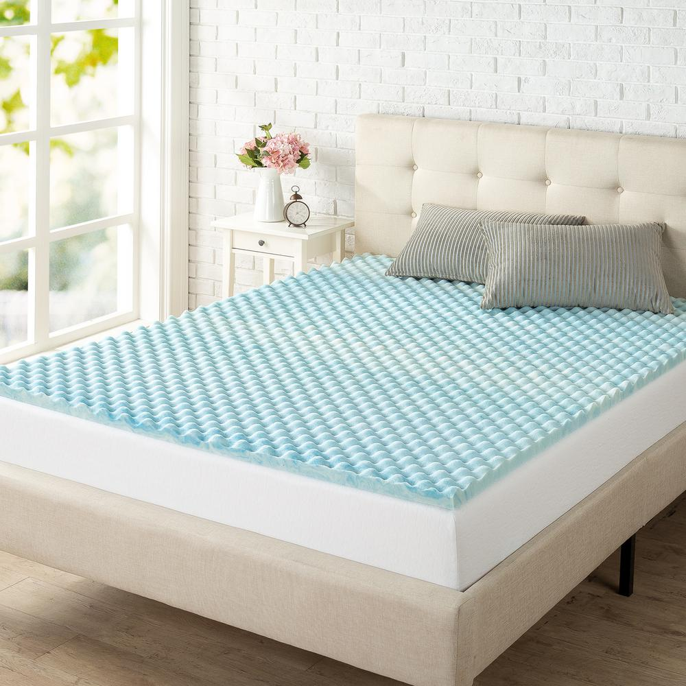 king size memory foam pad Zinus 1.5 in. King size Swirl Gel Memory Foam Air Flow Mattress  king size memory foam pad
