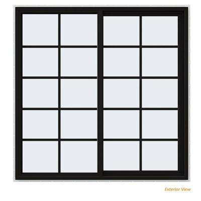 59.5 in. x 59.5 in. V-4500 Series Black Painted Vinyl Right-Handed Sliding Window with Colonial Grids/Grilles