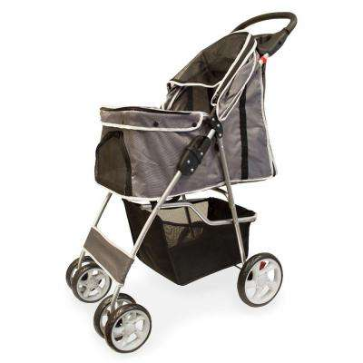 14 in. x 32 in. x 38 in. Gray Foldable Pet Stroller
