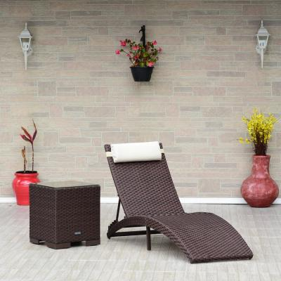 AMALFI 2-Piece Armless Wicker Lounge Chair Set with White Cushions