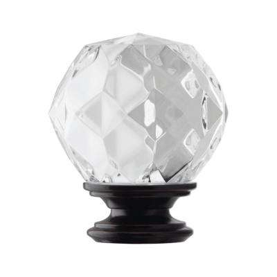 Mix and Match 1 in. Faceted Crystal Sphere Curtain Drapery Rod Finial in Oil Rubbed Bronze (2-Pack)