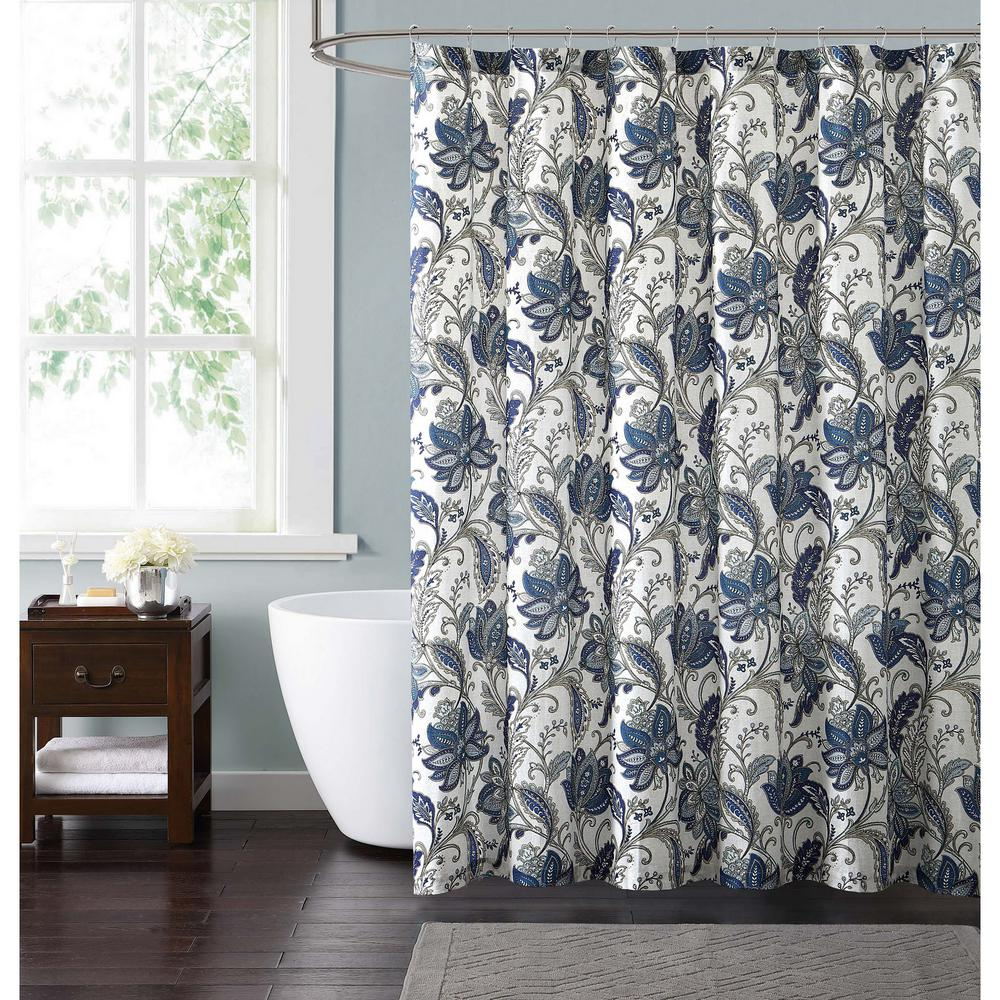 Style 212 Bettina Floral 72 In. Blue And Grey Shower