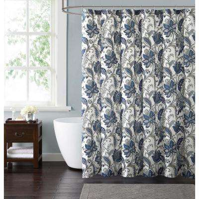 Bettina Floral 72 in. Blue and Grey Shower Curtain