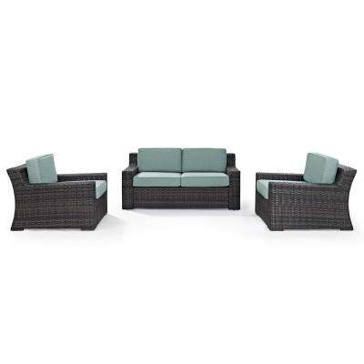 Beaufort 3-Piece Wicker Outdoor Seating Set with Mist Cushion - Loveseat, 2 Outdoor Chairs