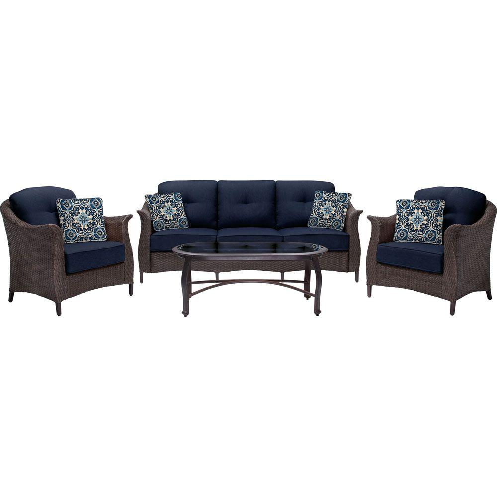 Hanover Gramercy 4-Piece All-Weather Wicker Patio Seating Set with Navy  Blue Cushions