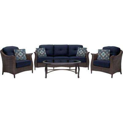 Gramercy 4-Piece All-Weather Wicker Patio Seating Set with Navy Blue Cushions