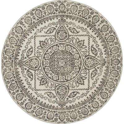New Casa Aubosson Grey 7 ft. 10 in. x 7 ft. 10 in. Round Area Rug