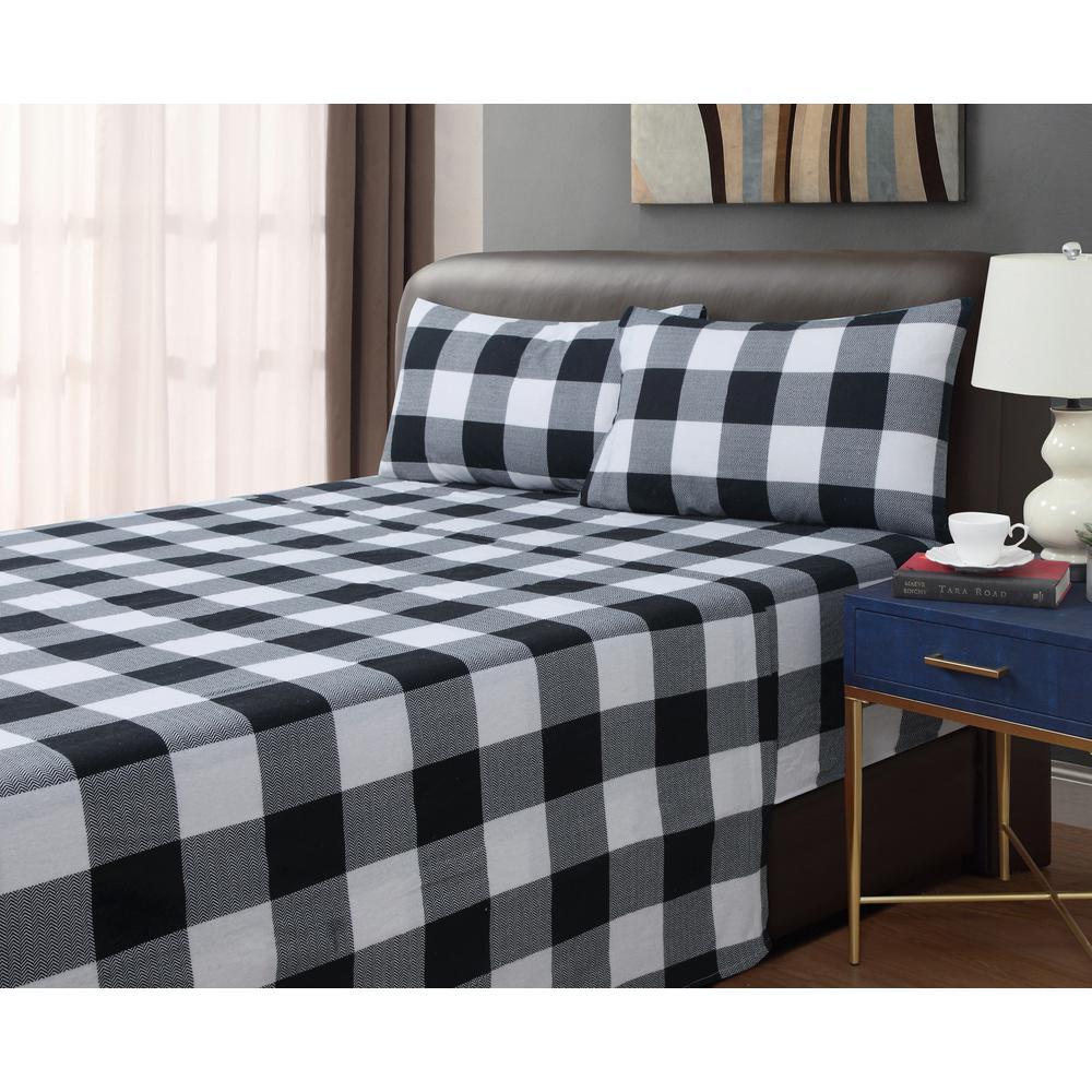 Dresden Buffalo Plaid 4-piece Black/White Cotton Flannel King Sheet Set