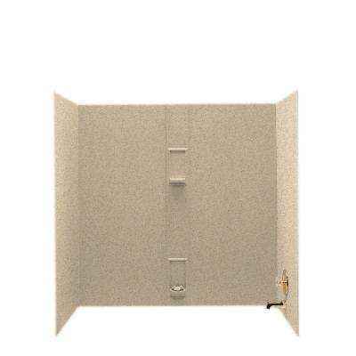 30 in. x 60 in. x 60 in. 5-Piece Easy Up Adhesive Tub Wall in Bermuda Sand